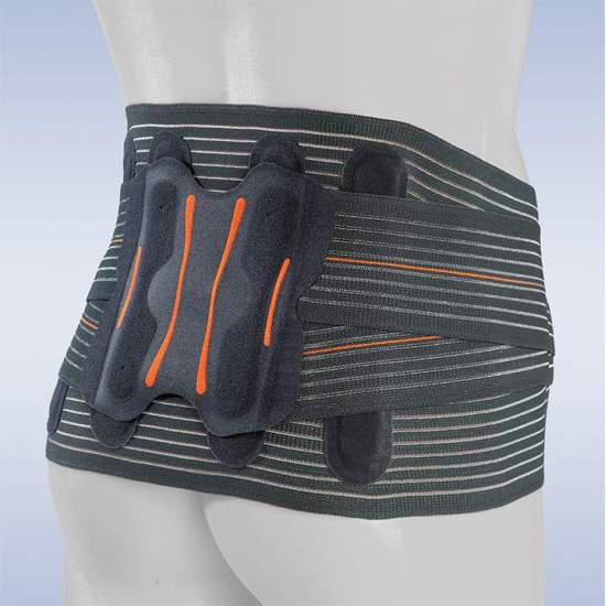 SEMI-RIGID SACROLUMBAR BELT LUMBITRON ELITE DUO SHORT -  Orthoses made of breathable multiband material, which provides us with a uniform compression when it is made with a seamless technique, avoiding annoying rubs and the loss of compression on the patient's surface.