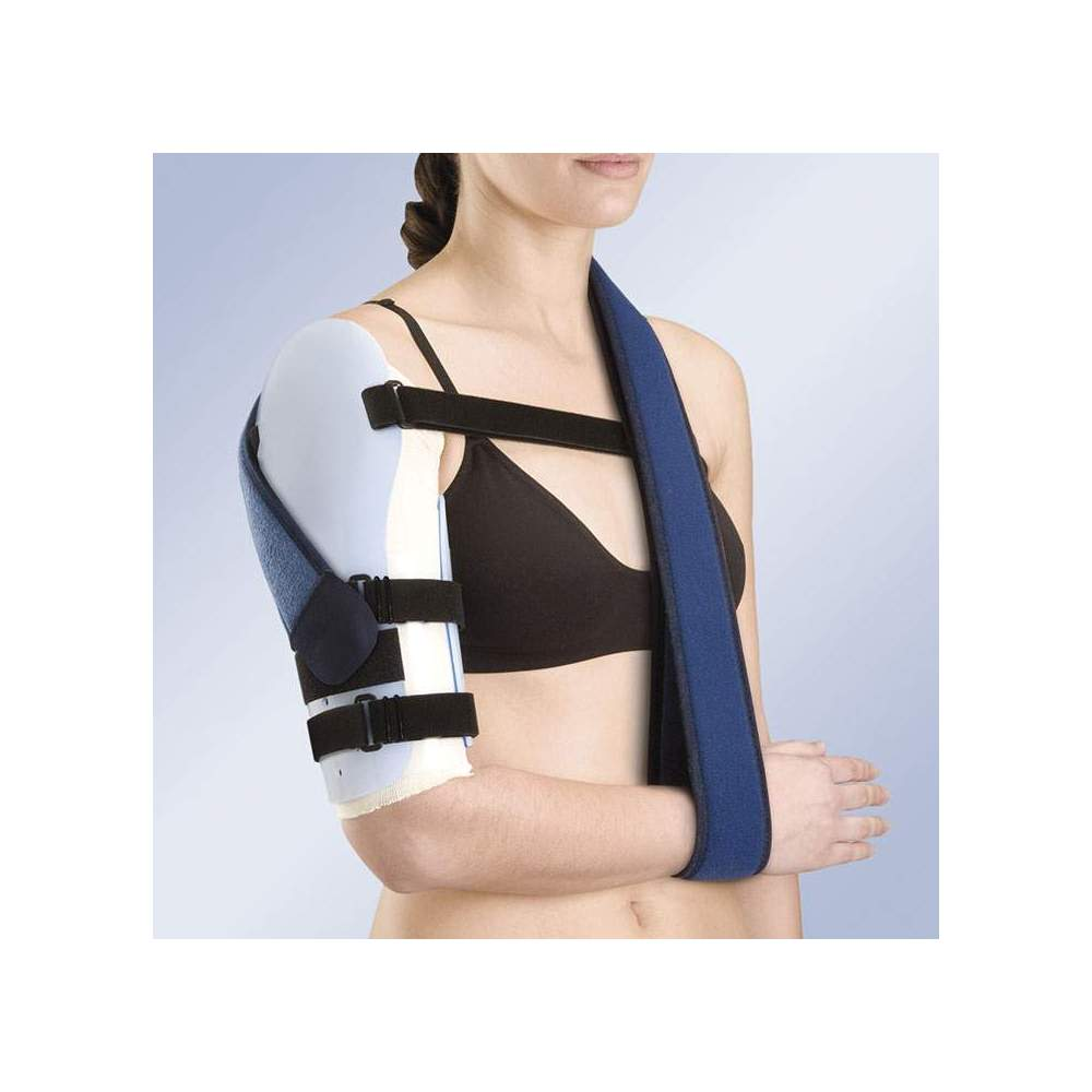 HUMEROUS BRACE IN THERMOPLASTIC TP-6400 - Bivalve humerus orthosis thermoformed in low density polyethylene, velor adjustment straps and closure system with micro-hook that can be cut to the desired length together with...