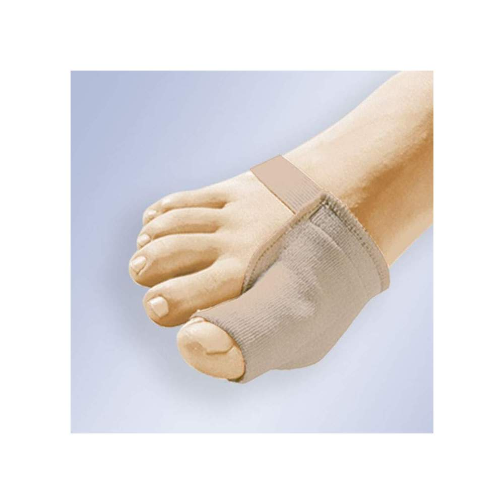 JUANETE PROTECTOR IN GEL WITH FABRIC Gl-103 - Protector that collects the area of the bunion, inserted in the finger. Made of viscoelastic polymer gel coated with elastic surgical fabric and with a forefoot support strap.