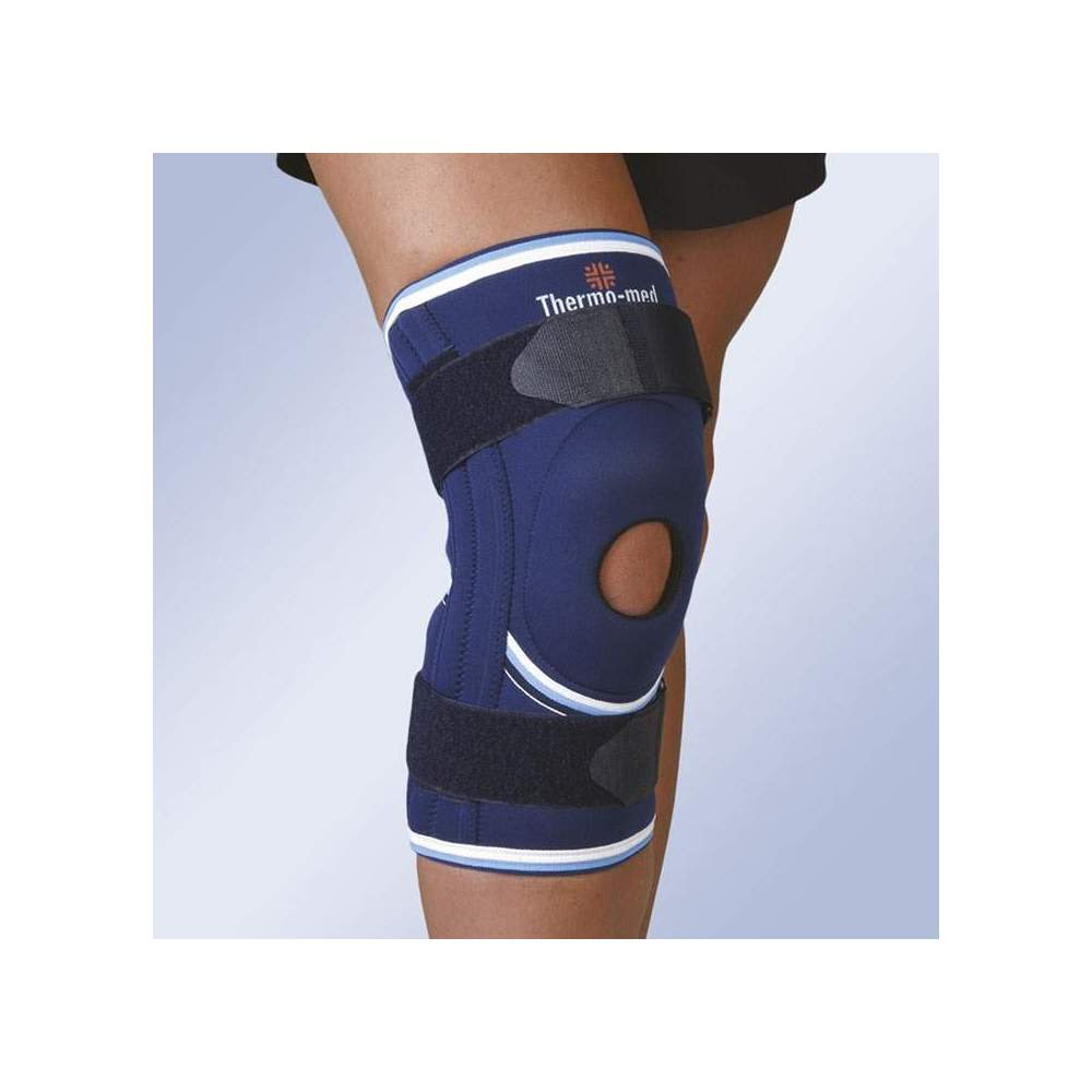 NEOPRENE STABILIZING KNEE WITH SILICONE ROTULINE ROLLER, SIDE STABILIZERS AND ADJUSTMENT CINCHES 4116 - 4.5 mm neoprene knee brace with open kneecap and spiral reinforcement whales for lateral stabilization. With silicone patellar impeller and straps with elastic portion for...