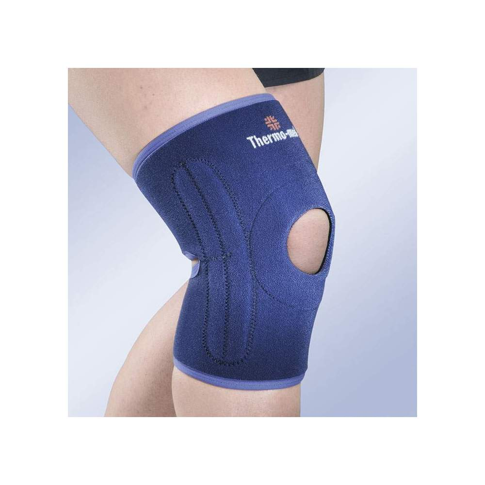 NEOPRENE KNEE ONE SIZE OPEN ROTULA 4119 - The stabilizing knee brace of only size allows to control the tension by means of bands of adjustment that favor a perfect adaptation to the kneecap, without disturbing the...