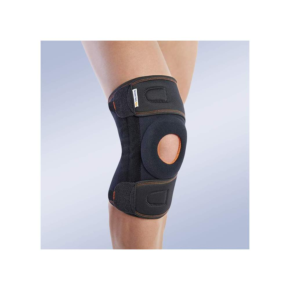 KNEE PAD WRAP WITH MID-SIDE STRAPS 7119 - Textile knee brace in breathable elastic three-layer material. Made of elastic velor (knee area) and elastic fabric (cinches area). Composed of 3 layers that are divided into an...