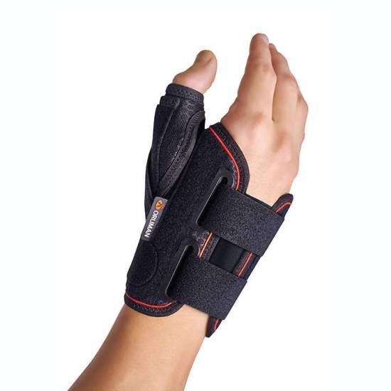 copy of SEMIRRIGIDA WRIST SPLINT stun THUMB SHORT WITH ORLIMAN - Wristband semi tailored quilted fabric, breathable internal terry cotton thumb abductor splint mouldable aluminum, lycra elastic in the back for easy positioning and Velcro closure with buckles.