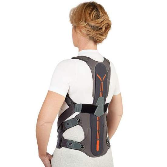 Dorsotech lumbar orthesis - Lightweight and ergonomically designed dorsolumbar orthesis with breathable materials for adequate stabilization and correction of posture.  The rear component is composed of a rigid textile base and an aluminum plate adjustable in height.