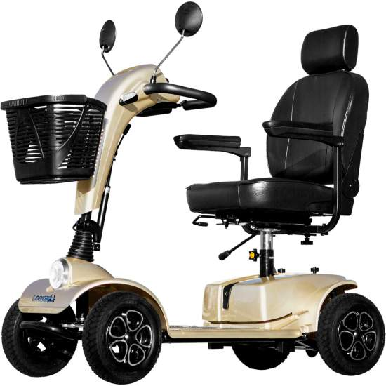 Libercar Cruiser Scooter - Libercar Cruiser the scooter with the highest performance in its category. Deluxe seat with high backrest and headrest, large 26cm pneumatic wheels, alloy wheels, adjustable double rear cushioning and 130cm floor height. Enjoy maximum...