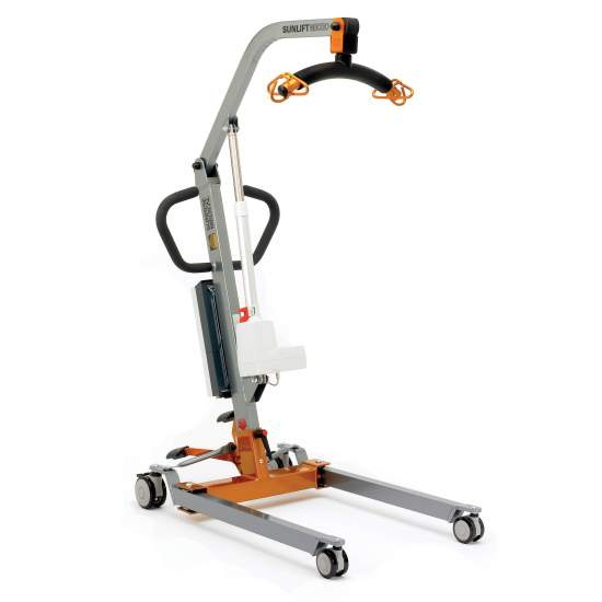 Crane Sunlift Micro electric (130Kg.) - The most compact transfer crane in the range, ideal for domestic use. The Micro patient lift and lift crane is surprising for its small size, and convinces because it is very easy to use inside the house.