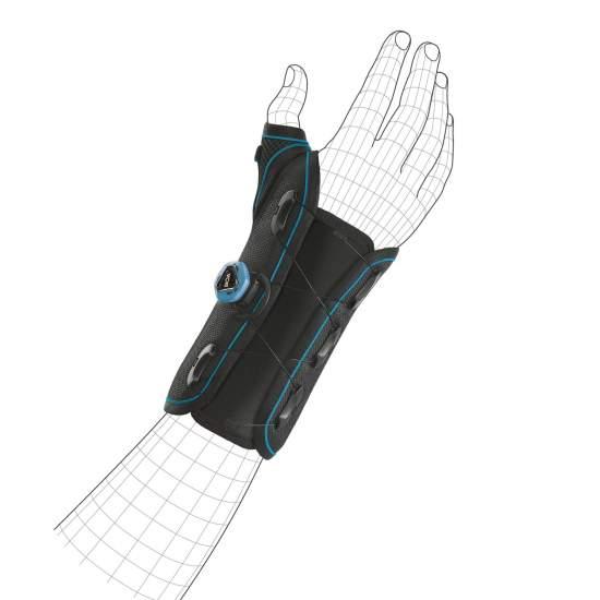 Orthèse de poignet rigide avec attelle palmaire - pouce Orliman BCS51 Fixquick powered by BOA® - Tissu interne rembourré qui offre un confort et une adaptation maximale. Sa face dorsale est renforcée par une languette doublée d'un noyau thermoplastique. Facile à installer grâce à son tissu élastique dorsal.