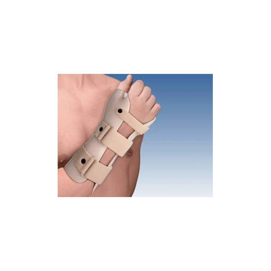 SPLINT WRIST OF DETENTION OF THERMOPLASTIC (dorsiflexion) WITH THUMB TP-6103 - Made of thermoplastic, and plastazote lined, velor features 3 straps closure system in Micro Hook. Permitting the molding by means of hot air gun.