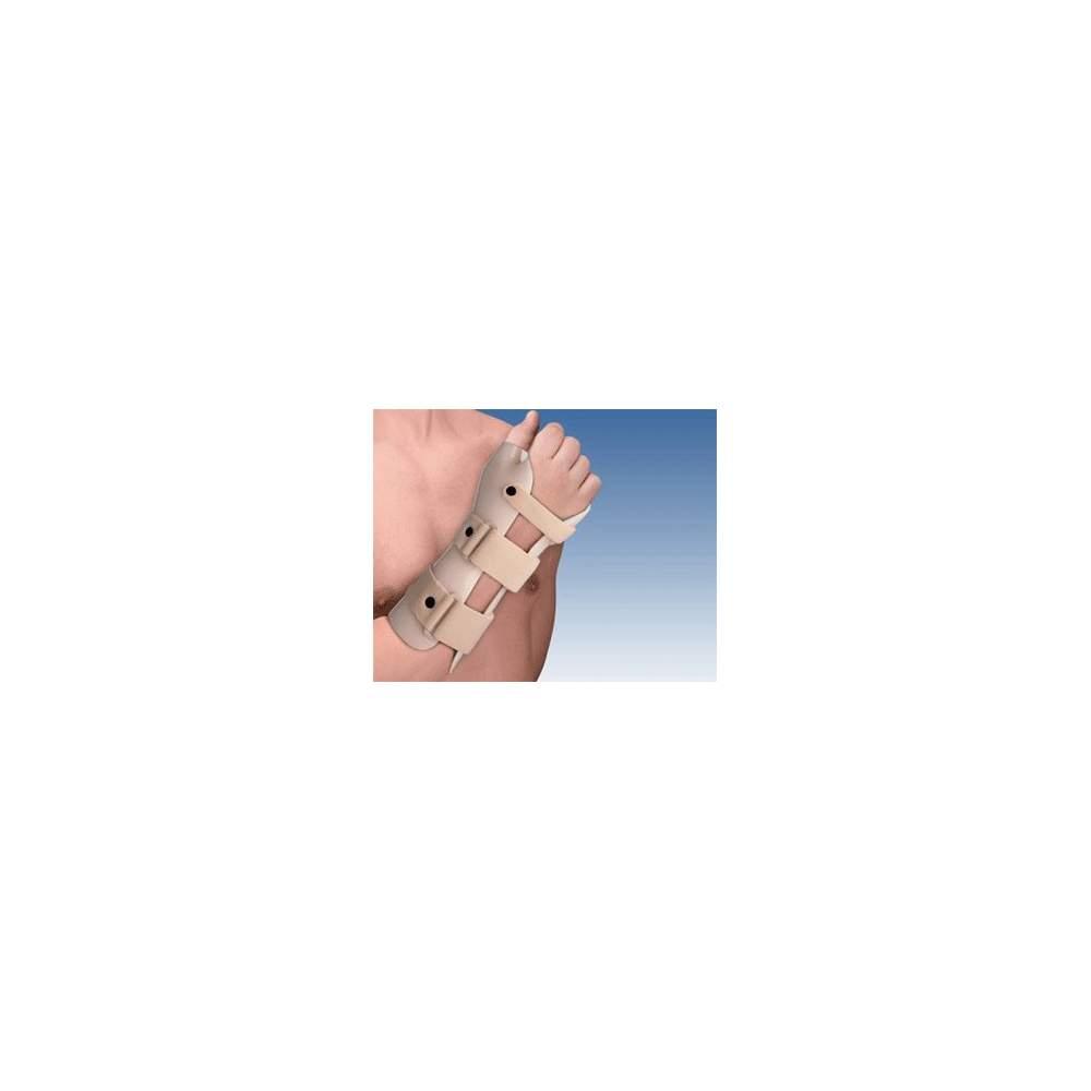 FÉRULA DE INMOVILIZACIÓN DE MUÑECA EN TERMOPLÁSTICO ( EN DORSIFLEXIÓN) CON PULGAR TP-6103 - Fabricada en termoplástico, y forrada en plastazote, incorpora 3 cinchas en velour y sistema de cierre en microgancho. Permite el moldeo por medio de pistola de aire caliente.
