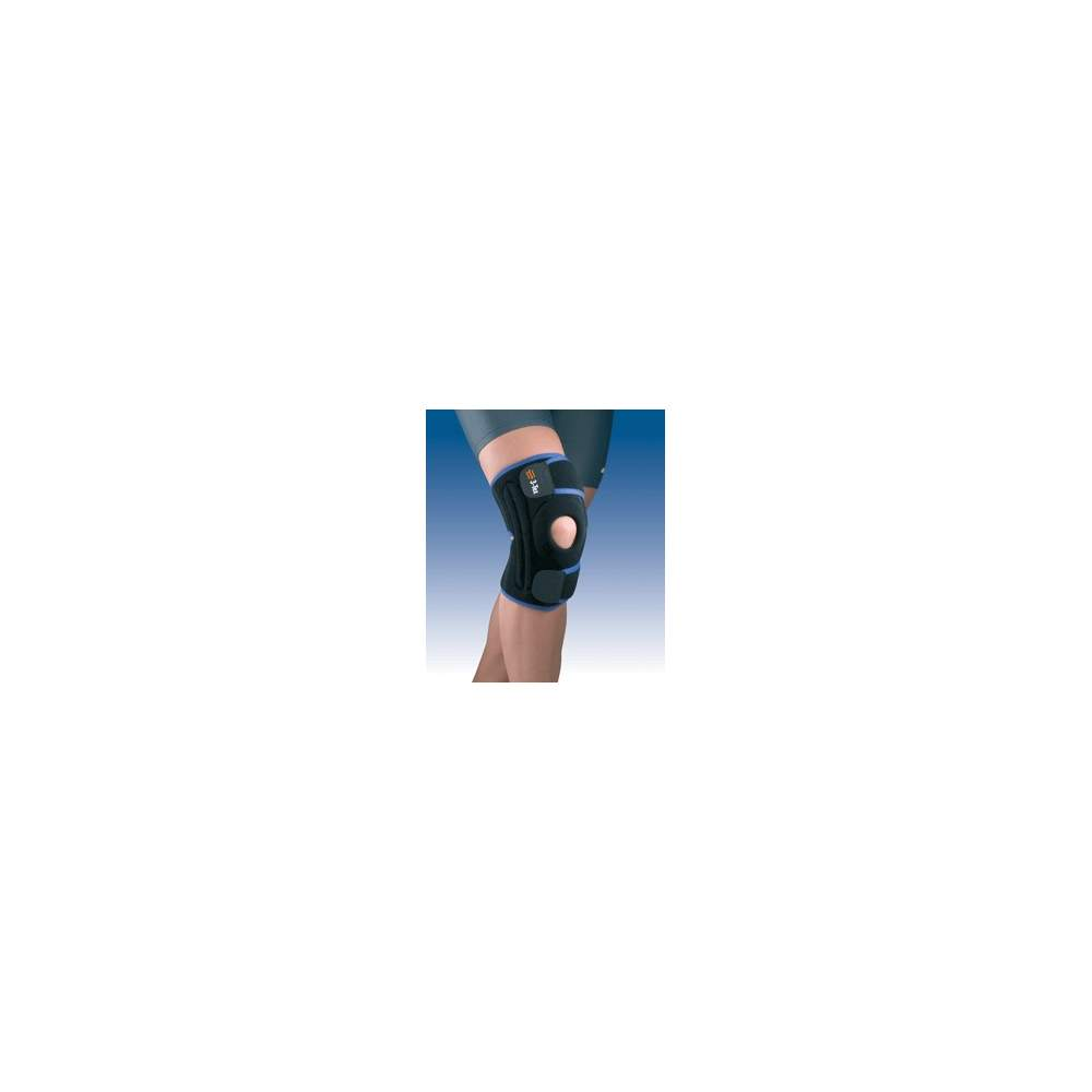KNEE WRAP WITH MIDDLE-SIDE STRIP 7119 - Knee breathable three-layer fabric elastic material, designed with open patella patellar impeller, fitted with strapping middle-lateral popliteal opening and closing system...