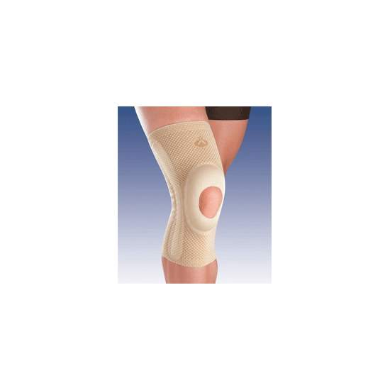 BREATHABLE ELASTIC KNEE SUPPORT WITH SILICONE HEAD OPEN IMPELLER AND SIDE STABILIZERS 8105