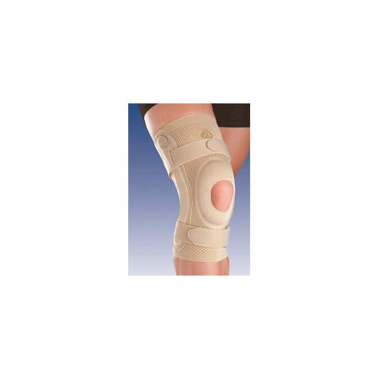 BREATHABLE ELASTIC KNEE SUPPORT WITH SILICONE HEAD OPEN IMPELLER AND METAL STRIP WITH 8107 polycentric joint