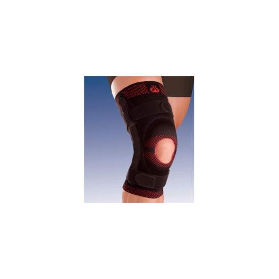 BREATHABLE ELASTIC KNEE SUPPORT WITH SILICONE HEAD OPEN IMPELLER AND METAL STRIP WITH 9107 polycentric joint