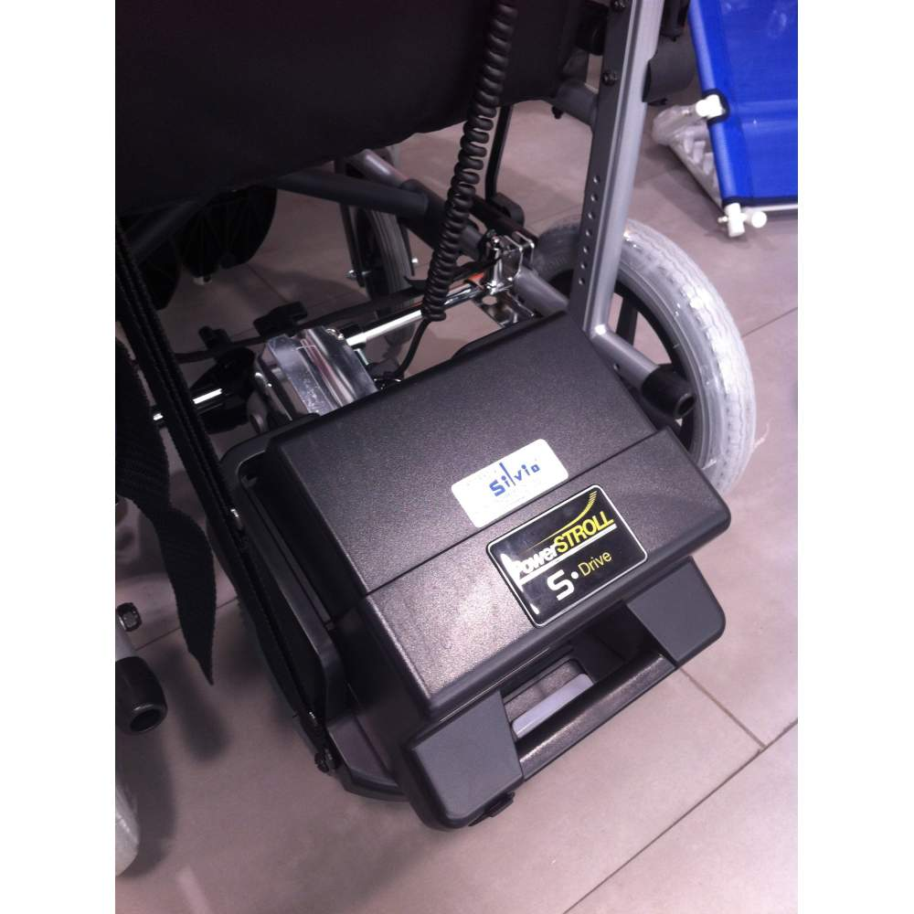 electronic engine S-Drive PowerStroll - This excellent Powerstroll will make most chairs manuals in electric wheelchairs wheels controlled by a caregiver.