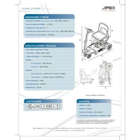 Folding Scooter Brio S19 da marca Apex