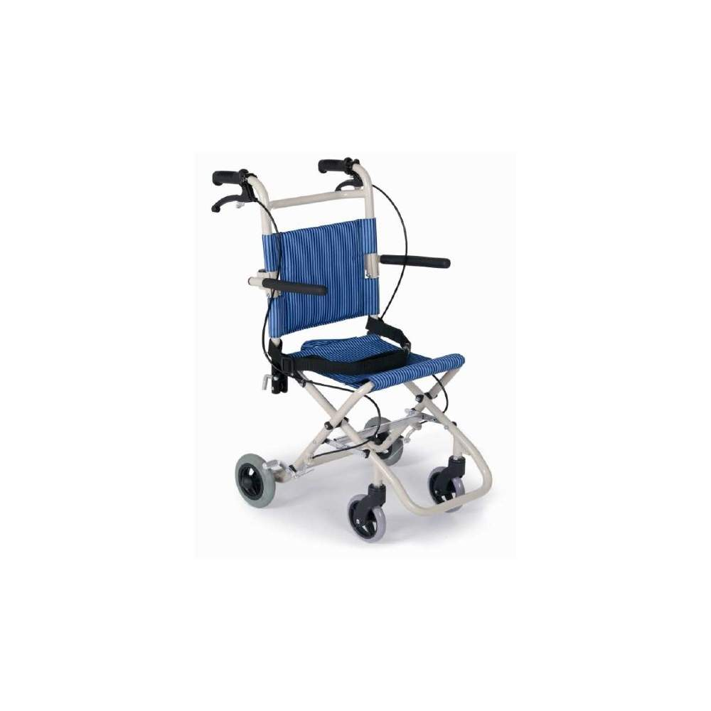 SILLA TRASLADO PLEGABLE EN ALUMINIO - TRANSFER CHAIR PAINTED BUILT IN ALUMINUM. NYLON BACK AND SEATBAG WITH SLIDES. REAR BRAKES ON WHEELS. ARMRESTFOLDING. WAIST BELT. MAXIMUM WEIGHT 75KGR. Code provision 12210006