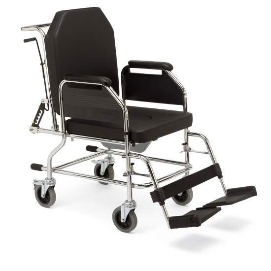 3018 casa cadeira de aço - Cadeiras fixas estrutura com banheiro. Adequado para interior. Com roda pequena (110 mm), e encosto reclinável.  Disposição do Código12210006