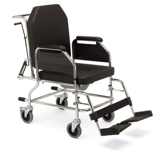 Silla domiciliaria de acero 3018 - Chairs fixed structure with toilet. Suitable for indoor use. With small wheel (110 mm), and reclining.Code provision 12210006
