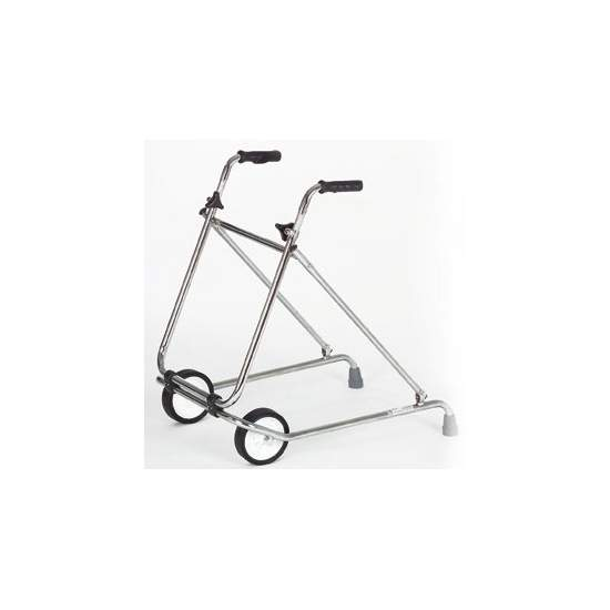 Folding Rollator - Chromed steel walker with wheels ø 150 mm.
