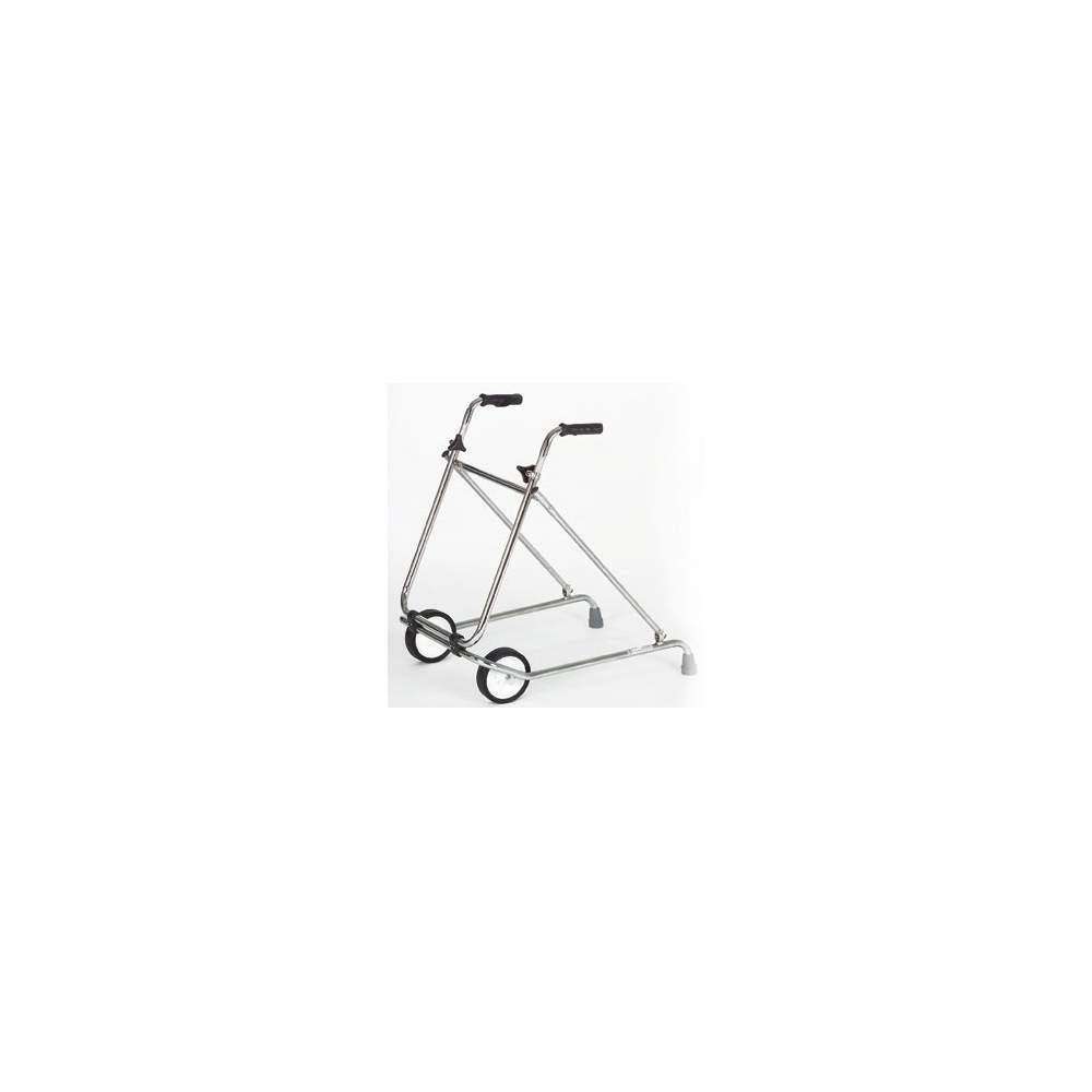 Déambulateur pliant - Acier chromé marchette avec roues ø 150 mm.  Code Provision 12060003
