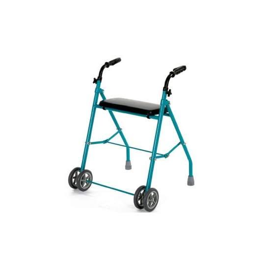 Duplo dobradura de alumínio da roda walker - Folding andador com quatro rodas e altura regulável, leve e fácil de dobrar. Todas as quatro rodas fazer o mínimo de esforço é necessário durante a execução.  Disposição do Código 12060003