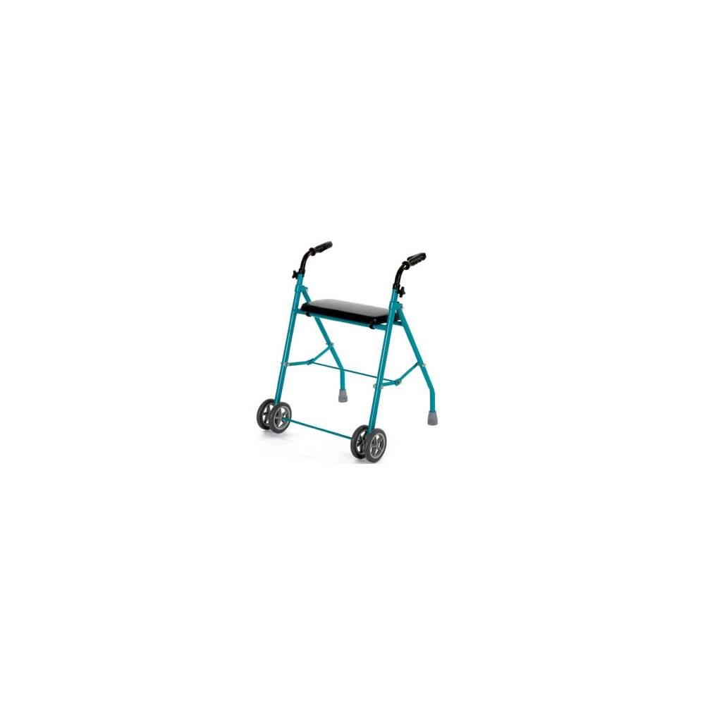 Doppia ruota in alluminio pieghevole walker - Pieghevole girello con quattro ruote e regolabile in altezza, leggero e facile da piegare. Tutte e quattro le ruote fanno il minimo sforzo è richiesto durante la corsa....