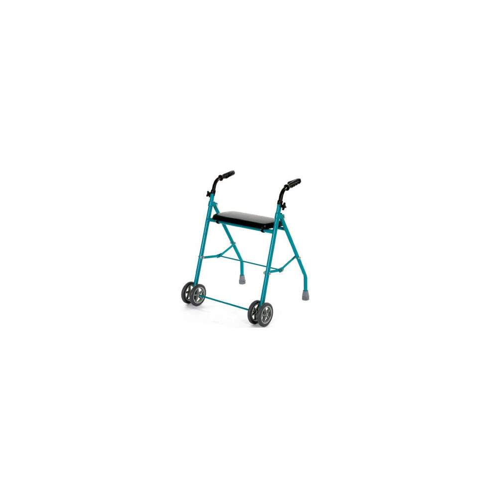 Double folding aluminum walker wheel - Folding walker with four wheels and height adjustable, lightweight and easy to fold. The four wheels make that minimal effort is required during operation.  Provision Code...
