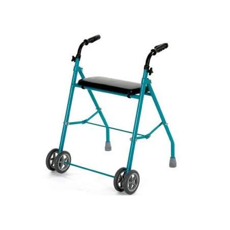 Andador de aluminio plegable doble rueda