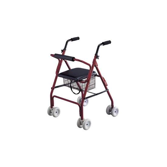 Rolator alluminio walker con freni - Walker Rolator molto leggero e maneggevole, in alluminio. Facile da piegare e conservare. Freno a pressione polsini.  Codice 12060003 disposizione