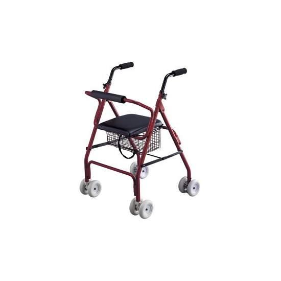 Rolator alumínio andador com freios - Walker rolator muito leve e manobrável, feita de alumínio. Fácil de dobrar e guardar. Pressão punhos de freio.  Disposição do Código 12060003