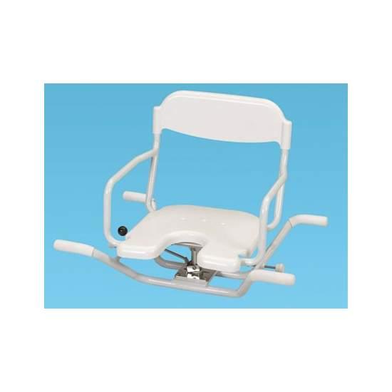 ALUMINIUM PIVOT SEAT - Produit entièrement inoxydable et très léger qui ne pèse que 5,9 kg. il est donc très facile à transporter et à enlever et mettre dans la baignoire.