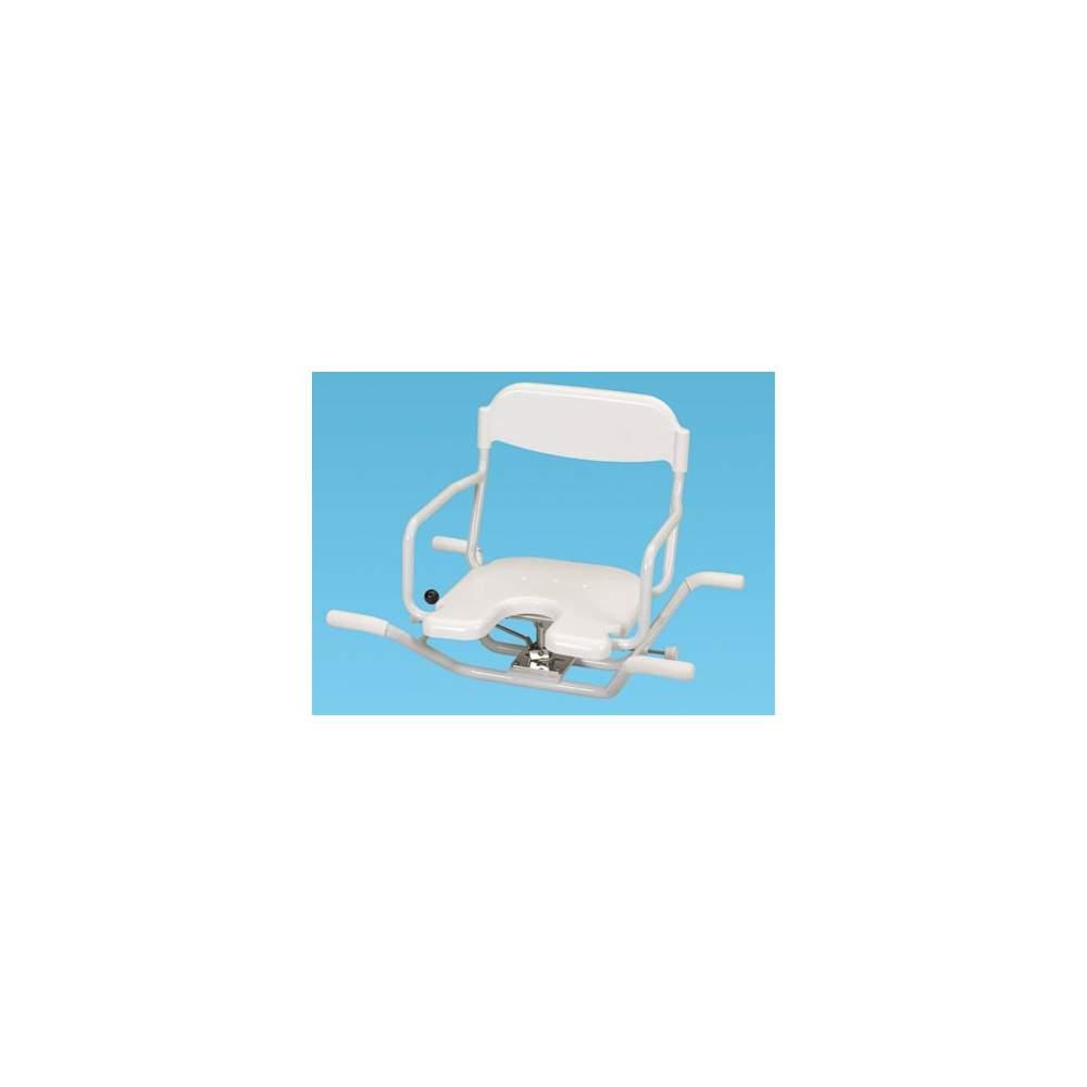Asiento Giratorio de Aluminio - Producto totalmente inoxidable y muy ligero pesa solo 5,9 kg. por lo que es muy fácil de transportar y de quitar y poner en la bañera.