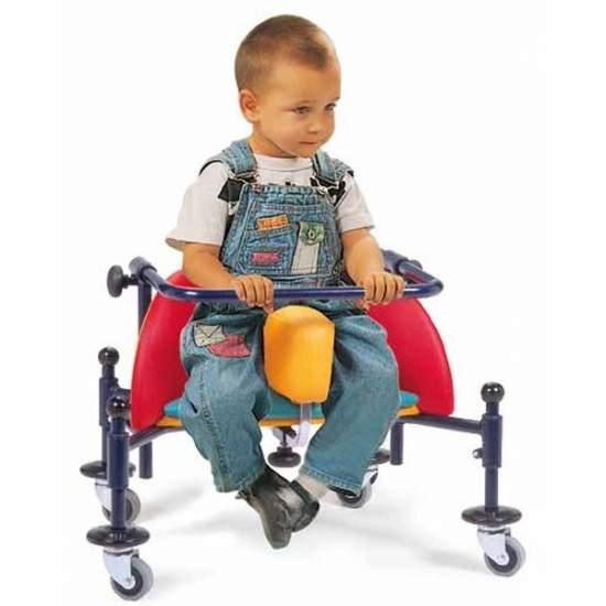 Caminador Infantil Birillo - El caminador infantil BIRILLO es una ayuda pensada y realizada para permitir el desplazamiento autónomo y precoz en posición sentada a niños de 2 a 8 años.