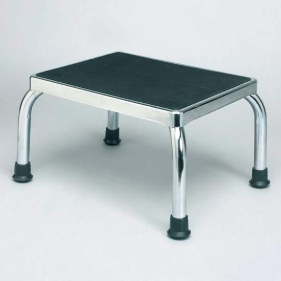 Banqueta escalón H6550 - Metálica y cromada, con superficie antideslizante de 28 x 36 x 22,5 cm de altura.