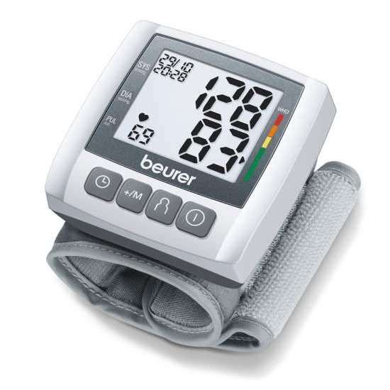 Tensiómetro de muñeca BC 30 -  Medición de la tensión sanguínea y de pulsaciones totalmente automática en la muñeca Indicador grande y de fácil lectura 3 x 40 memory spaces