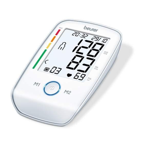 Tensiometro per braccio Beurer BM 45 -  Braccio pressione sanguigna  Misura in braccio completamente automatico  XL display di facile lettura, illuminato in bianco  Pulsante luminoso avviare e interrompere la