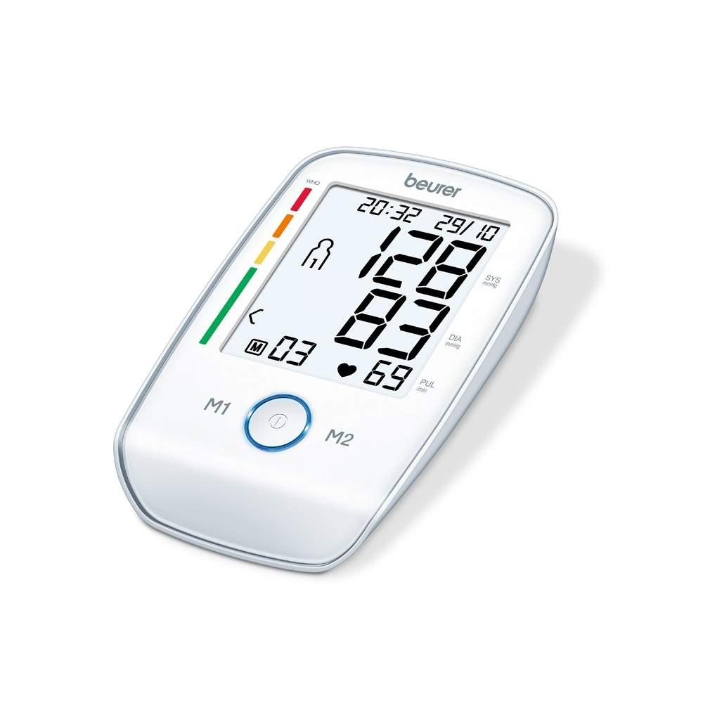 Tensiomètre pour bras Beurer BM 45 -  Bras pression artérielle  Mesure dans le bras entièrement automatique  XL afficher facile à lire, éclairé en blanc  Bouton poussoir lumineux démarrer et arrêter