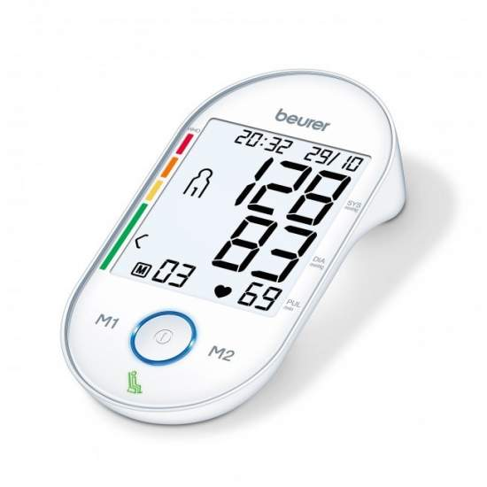 Braço Monitor de Beurer BM 55 Digital Pressão Arterial -  Pressão arterial de braço  Medição no braço totalmente automático  Indicador patenteado quieto por resultados de medições precisas (HSD = indicação de diagnóstico de estabilidade hemodinâmica)  Botão luminoso iniciar e parar