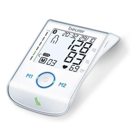 Tensiómetro de brazo Beurer BM 85 - Tensiómetro para el brazo  Medición en el brazo completamente automática Bluetooth 4.0 para transferir los valores de medición al smartphone Botones táctiles retroiluminados en azul