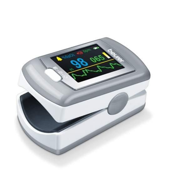Pulsioxímetro P80 - Beurer - Pulsioxímetro  Para medir la concentración de oxígeno arterial (SpO2) y la frecuencia cardiaca (pulso) Medición muy sencilla y completamente indolora Pequeño y ligero: para el hogar y para viajes