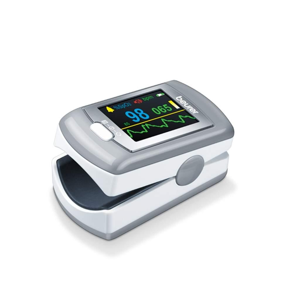 P80 Oxímetro de Pulso - Beurer -  Oxímetro de Pulso  Para medir a concentração de oxigênio no sangue (SpO2) e frequência cardíaca (pulso)  Muito simples e totalmente indolor Medição  Pequeno e leve: para casa e...