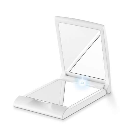 Specchio Pocket con la luce -  Sempre perfetto, ovunque tu sia  Piccolo e maneggevole formato trucco  Per la tasca