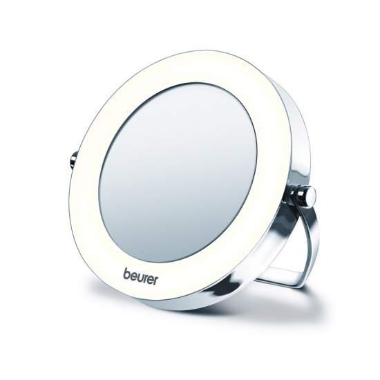 Espejo de bolsillo con luz - Pequeño y manejable, ideal para viajar  Cromado de alta calidad 3 aumentos