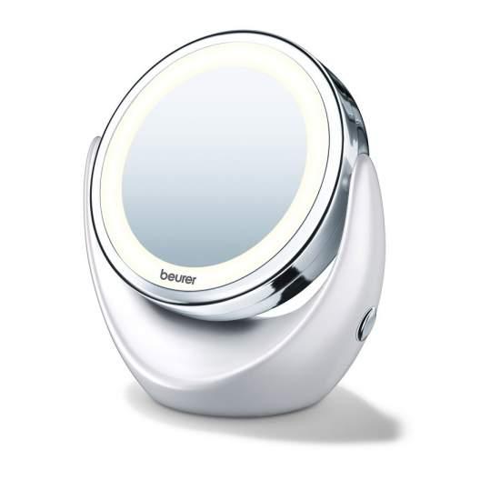 Specchio luminoso -  Due superfici a specchio rotante  Normale / aumento di 5 volte  Luce LED chiara