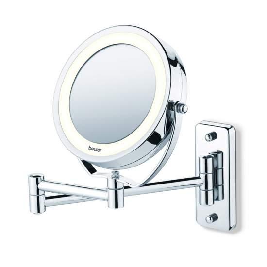 Espejo cosmético con luz - Espejo con luz  Espejo de maquillaje 2 en 1 2 superficies de espejo giratorias Normal / aumento de 5 veces