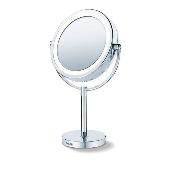 Espelho cosmético com pé e luz -  Cromo de alta qualidade  Luz LED claro  2 superfícies de espelho rotativo