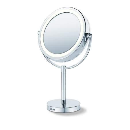 Espejo cosmético con pie y luz
