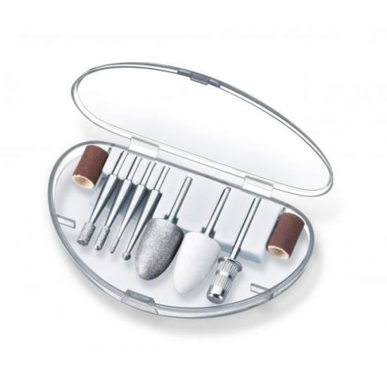 Set manicura pedicura profesional Beurer - Estación de manicura-pedicura  Para una manicura y pedicura profesionales Gira en el sentido de las agujas del reloj/en sentido contrario al de las agujas del reloj 10 accesorios de alta calidad de zafiro y fieltro