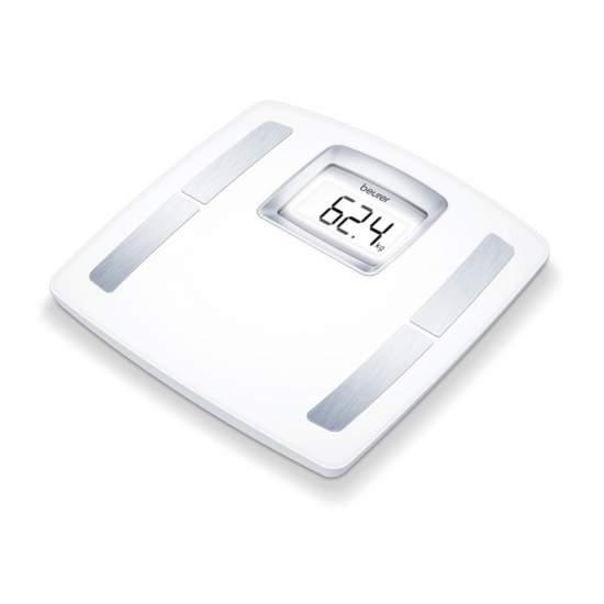 Báscula diagnóstica BF-400 Beurer - Básculas diagnósticas  Superficie de pesaje extragrande Indicador LCD especialmente grande Determinación de grasa corporal, agua corporal, porcentaje muscular, masa ósea, necesidad de calorías y peso ideal