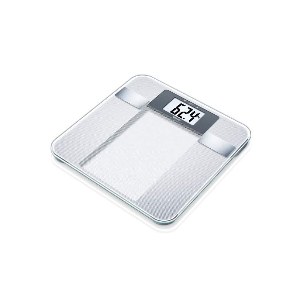 Pèse-personne impédancemètre en verre -  Pèse-personne impédancemètre en verre  Électrodes en acier inoxydable brossé  Changement kg / lb / st  150 kg capacité